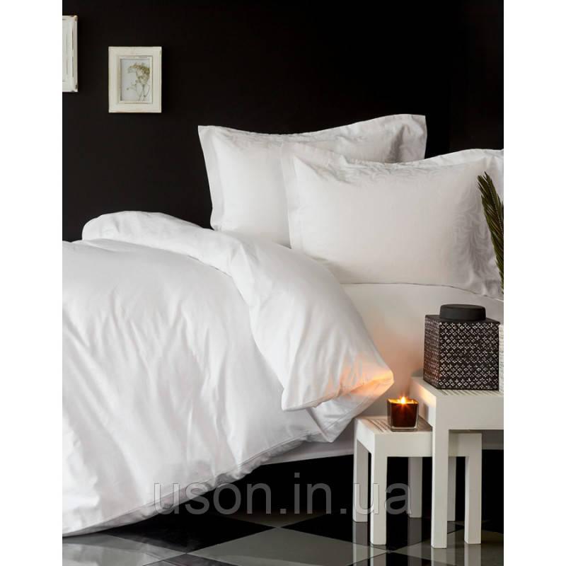 Комплект постельного белья сатин Karaca Home евро размер Erva beyaz