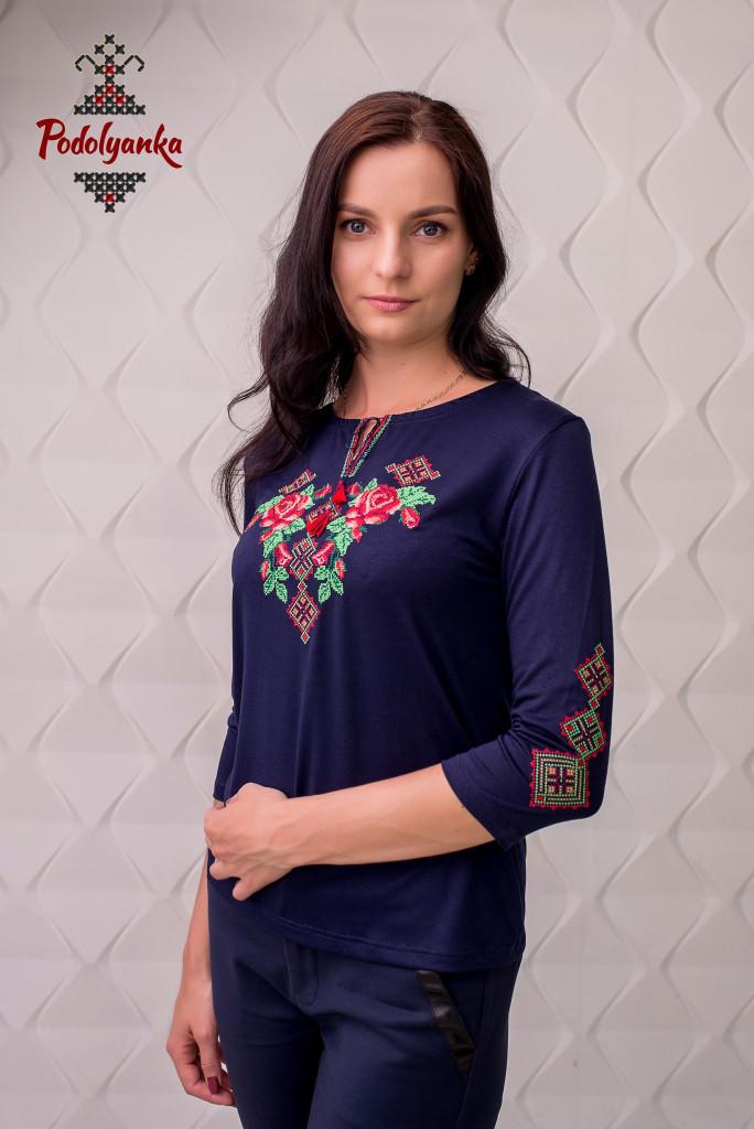 Жіноча вишиванка Троянди на темно-синьому  продажа 8f40c1369a4e1