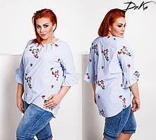 Женская батальная блузка с вышивкой