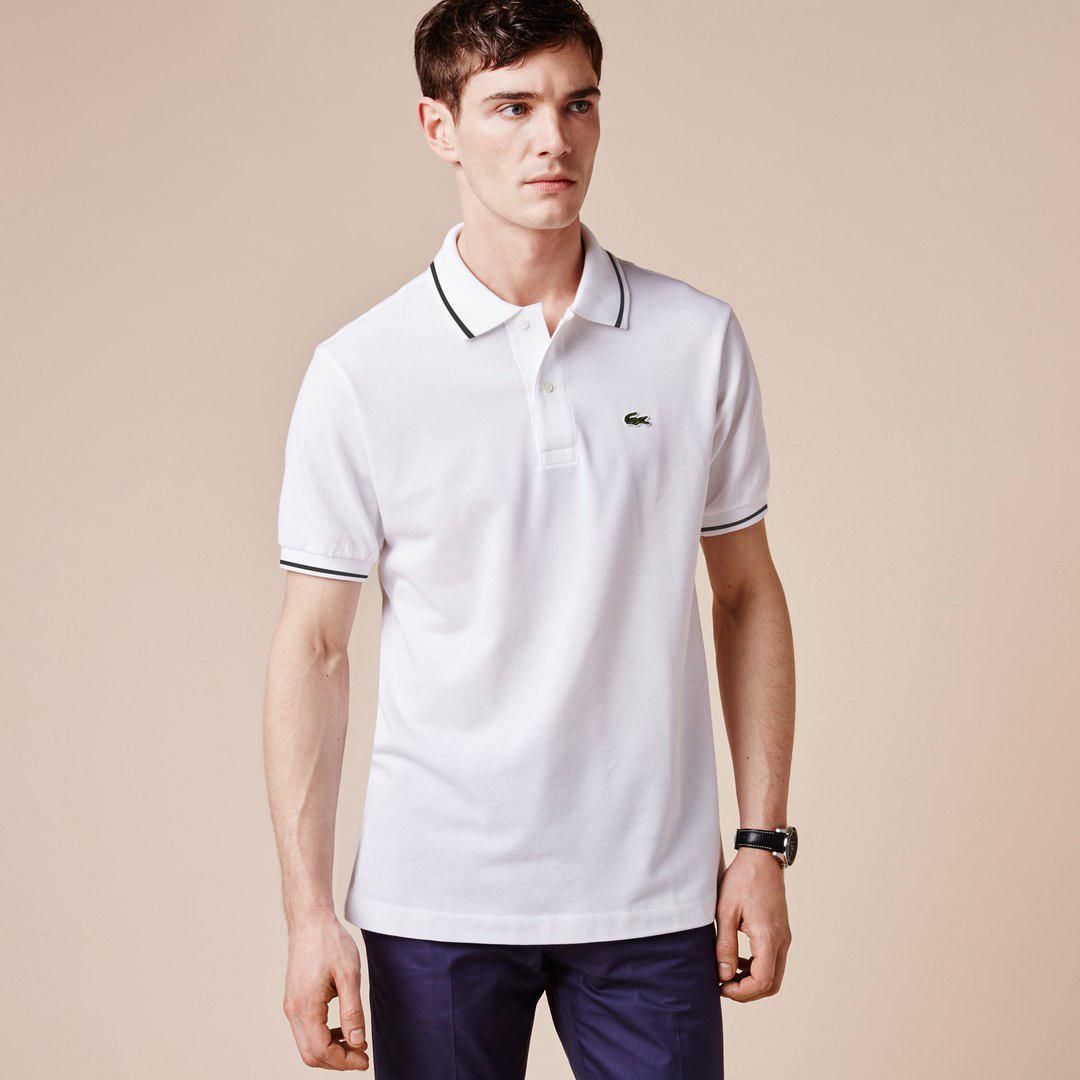 Мужская футболка поло Lacoste белая топ реплика - Интернет-магазин обуви и  одежды KedON в e6db8c3c895
