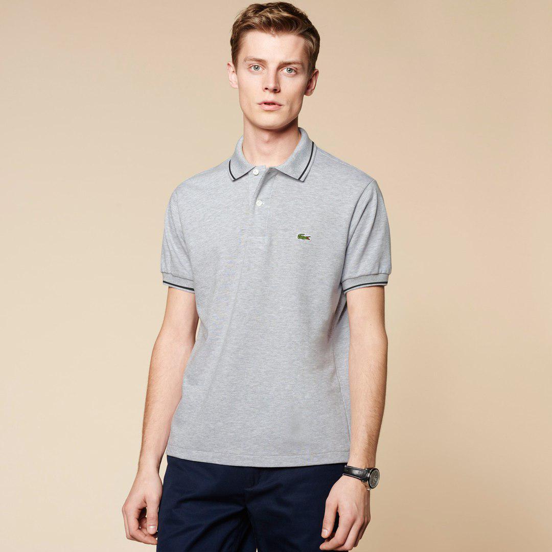 Мужская футболка поло Lacoste Grey топ реплика