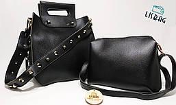 Женский Черный набор сумок 2в1 для девушки, на заклепках