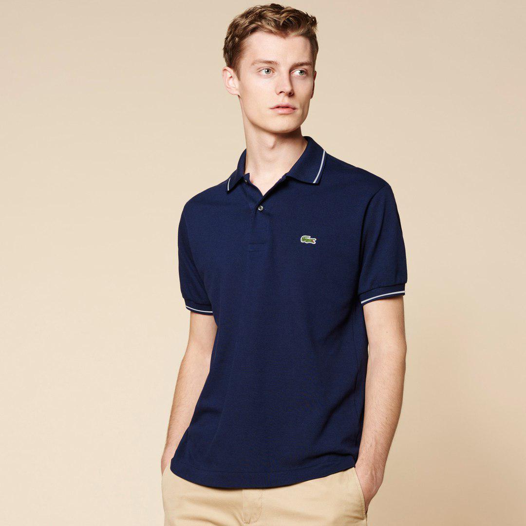 Мужская футболка поло Lacoste темно-синяя топ реплика
