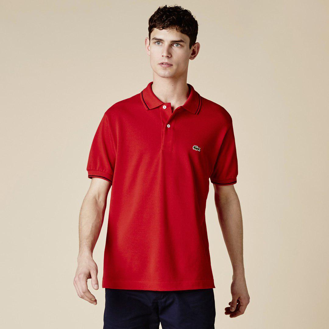 Мужская футболка поло Lacoste красная топ реплика - Интернет-магазин обуви  и одежды KedON в e272c393be4