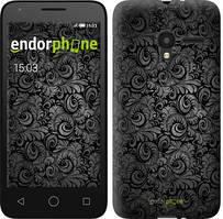 "Чохол на ALCATEL One Touch Pixi 3 4.5 Чорно-сірі листя ""843u-408-535"""