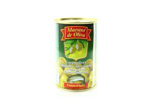 Оливки Maestro de oliva 300г зелені з сьомгою