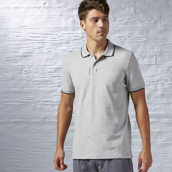 Мужская футболка поло Reebok серая топ реплика