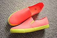 Женские слипоны кеды весна лето Neon Coral 36  37