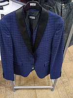 Мужской пиджак в клетку двойка синего цвета Antioch