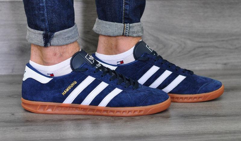 Кроссовки мужские Adidas Hamburg.Темно синие
