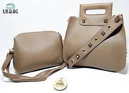 Набор сумок Коричневый 2в1 для девушки, на заклепках