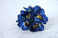 Декоративные цветы дикого мака диаметр 5 см, 6 шт/уп.,  синего цвета, фото 1