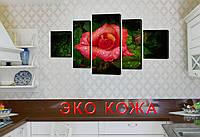 """Модульная картина на искусственной коже""""Дикая роза""""108*60см"""
