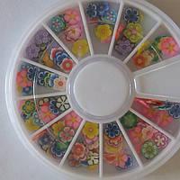 Декор Фимо для дизайна ногтей в карусели, Цветы