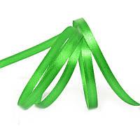 Лента атласная ярко зеленый 6 мм