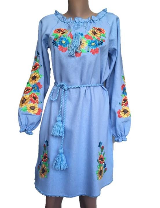 Голубое платье вышиванка мальвы