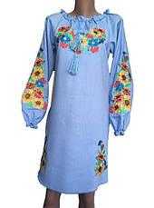 Голубое платье вышиванка мальвы, фото 3