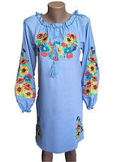 Голубое платье вышиванка мальвы, фото 2