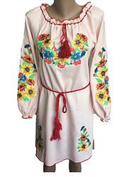 Нежно-розовое платье вышиванка мальвы