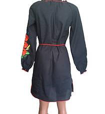 Черное платье вышиванка маки, фото 3
