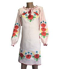 Нежно-розовое платье вышиванка маки, фото 3