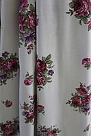 Шторы ткань розово-бордовые цветы