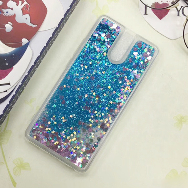 Чехол Glitter для Meizu M6 Note Бампер Жидкий блеск синий