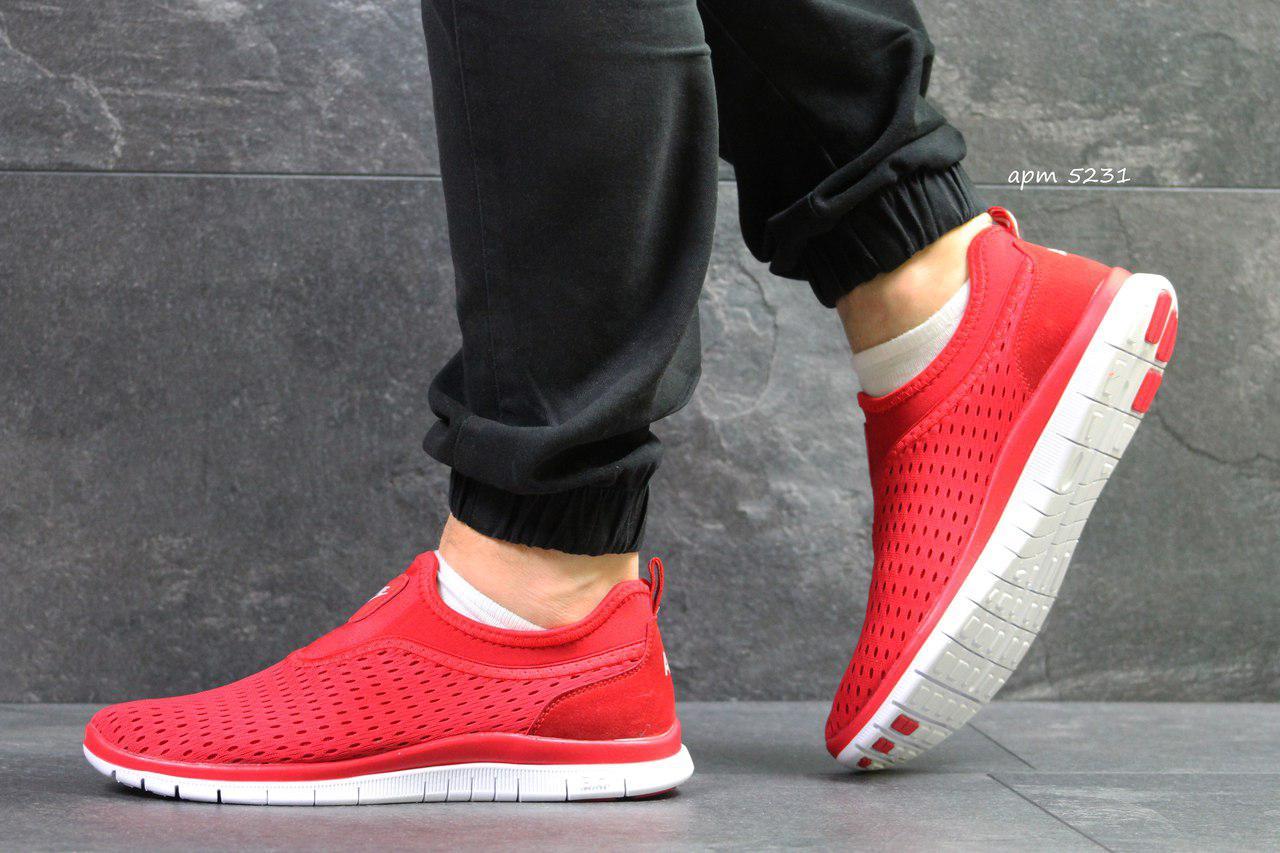 Летние мужские кроссовки Nike,красные,сетка