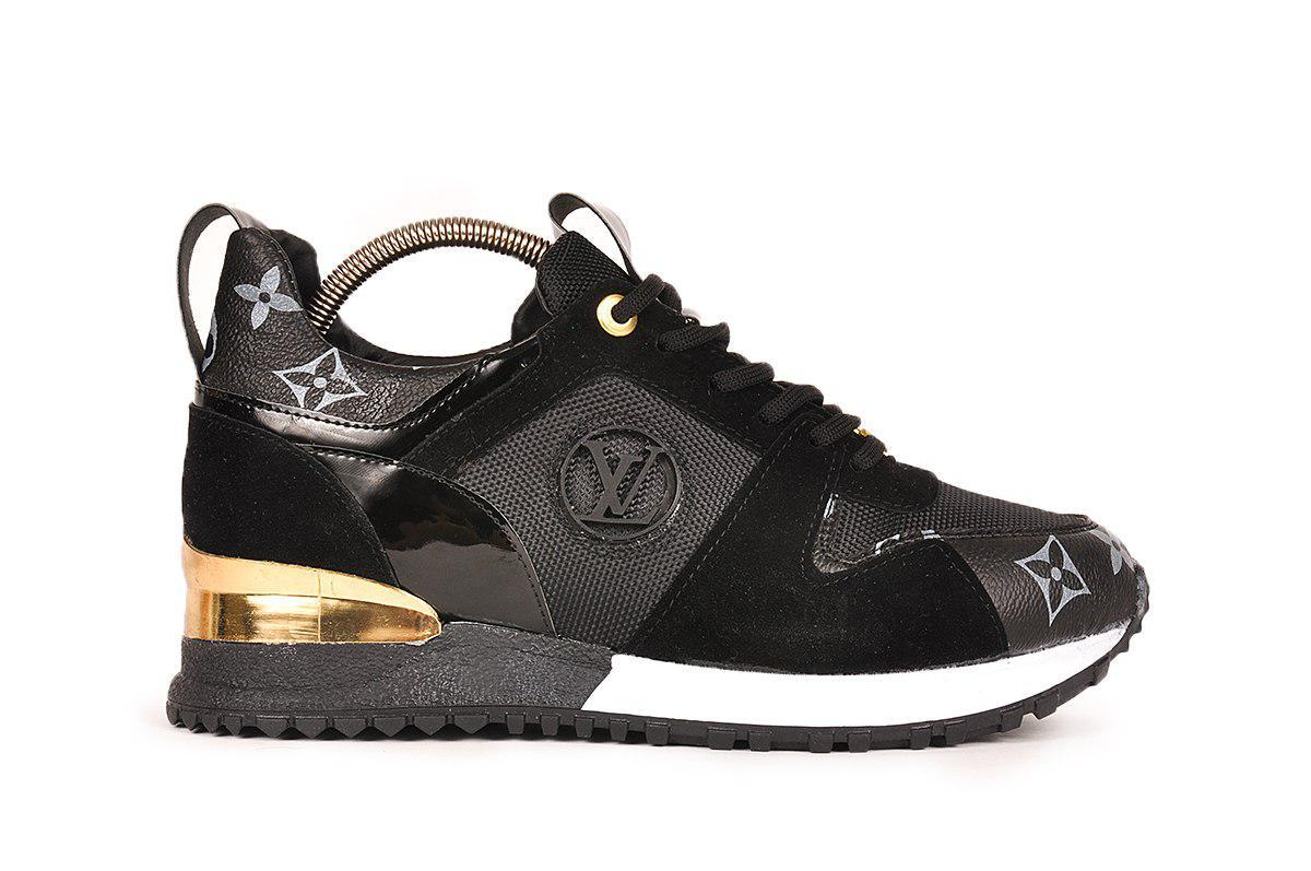 ef2f267cb539 Женские кроссовки Louis Vuitton (в стиле Луи Витон) черные -  Мультибрендовый магазин обуви в
