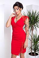 Эффектное Облегающее Платье с Глубоким Декольте и Гипюром Красное XS-S, фото 1