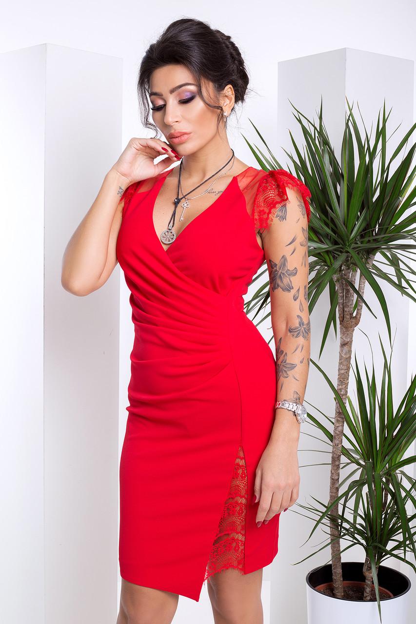 aebf648848b Эффектное Облегающее Платье с Глубоким Декольте и Гипюром Красное XS-S -  Ukraine In Trend