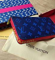 Кошелек Louis Vuitton Люкс синий с цветной силиконовой молнией