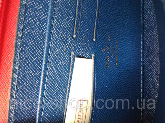 Кошелек Louis Vuitton Люкс синий с цветной силиконовой молнией, фото 3