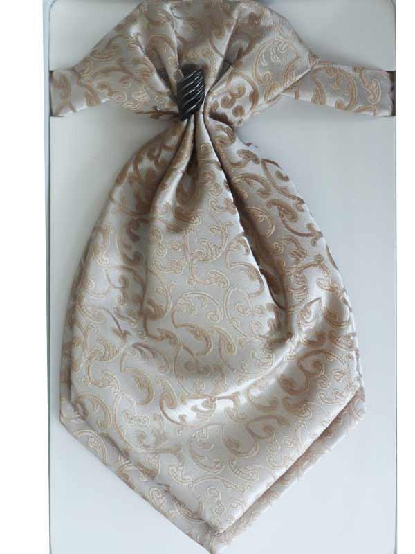 Галстук - пластрон для мальчиков Dunpillo с платком в карман бежевый арт. 13393