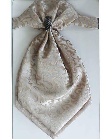 Галстук - пластрон для мальчиков Dunpillo с платком в карман бежевый арт. 13393, фото 2