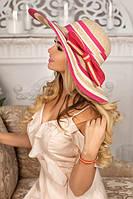 Соломенная шляпа женская летняя, розовая