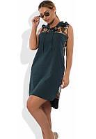 Женское платье в стиле поло зеленое размеры от XL ПБ-323
