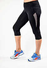 Жіночі спортивні великих розмірів бриджі з сірими вставками