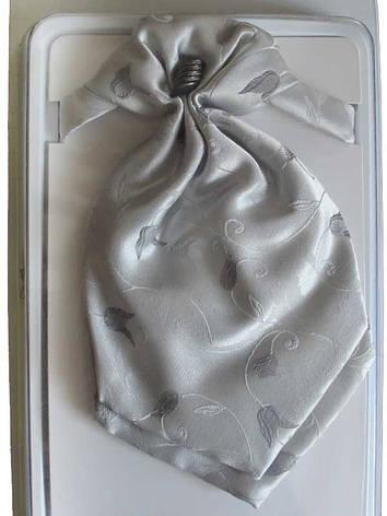 Детский галстук-пластрон для мальчика  серый цветочный принт, фото 2