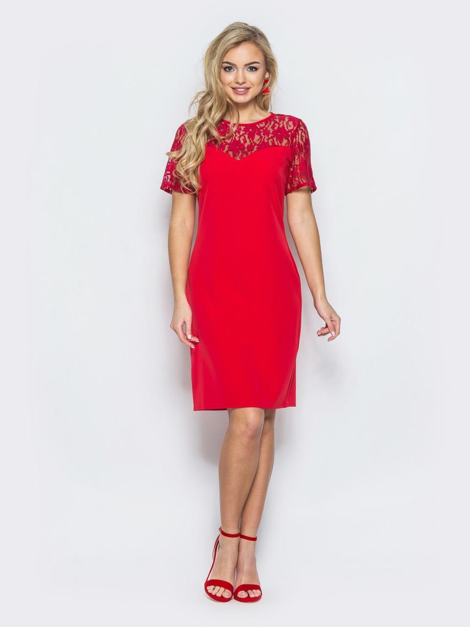 Жіночне приталені плаття з коротким рукавом червоний розмір 42 2158d5f4f5510