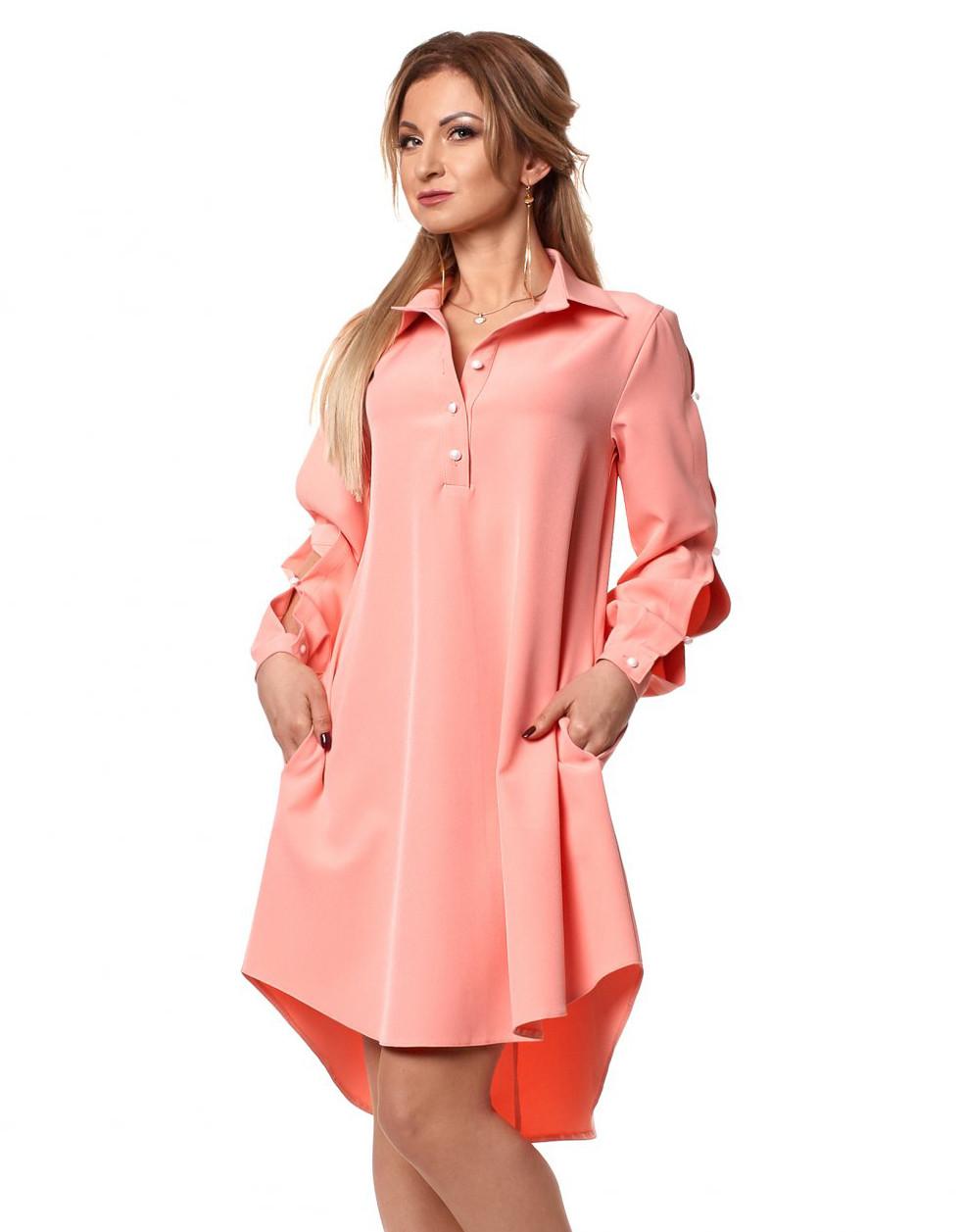 a741d3607f4 Женское платье-рубашка пудрового цвета с длинным рукавом. Модель 1051 SL.  Размеры 42