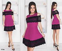Платье летнее расклешенное костюмка+гипюр 42-44,44-46, фото 1