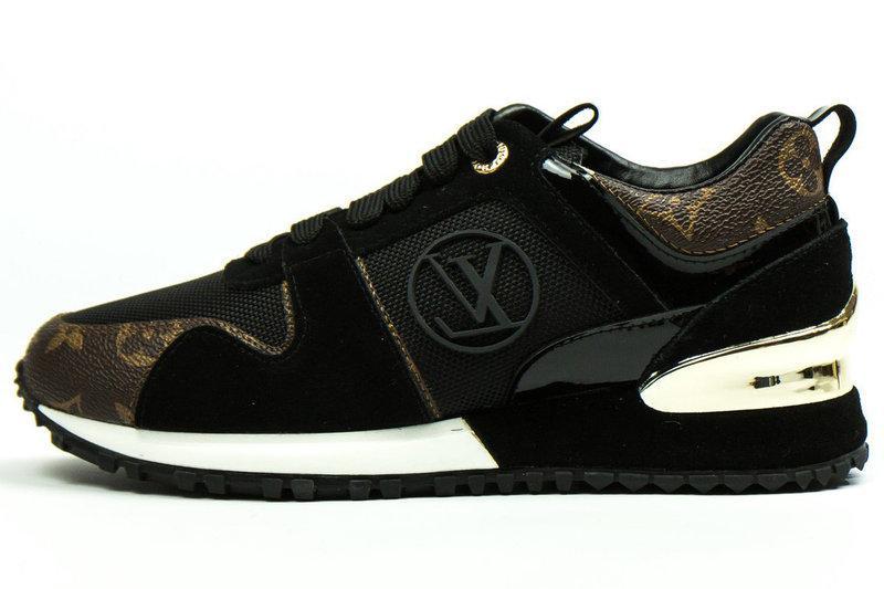 0bb7c5bba0d5 Женские кроссовки Louis Vuitton (в стиле Луи Витон Люкс) темно-коричневые -  Мультибрендовый