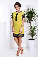 Стильное Платье на Лето с Кожаными Вставками Оливковое XS-XL, фото 1