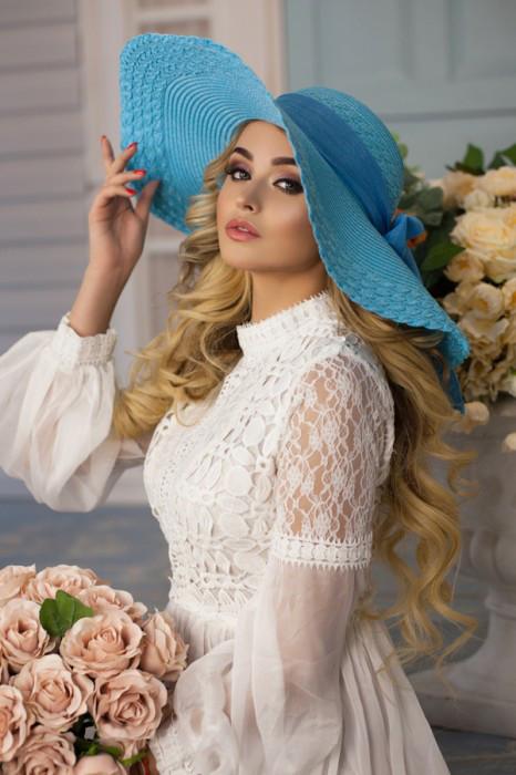 Шляпа шляпка женская летняя голубая голубого цвета