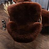 Овчина коричнева шкура шоколадного кольору, темні овечі шкури, фото 5