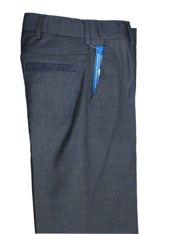 Школьные брюки  для мальчика серые с замшевой отделкой