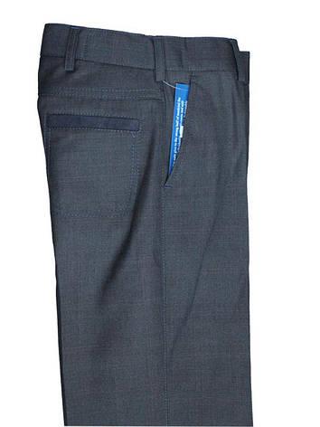 Школьные брюки  для мальчика серые с замшевой отделкой, фото 2