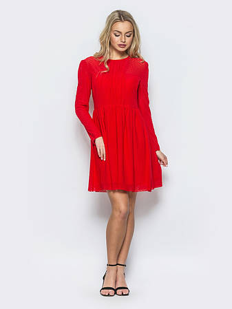 cb5f2f6ce3dcac Миле коктейльне плаття з фітіну в горошок червоний розмір 42,44,46,48
