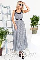 Платье Мелини синий с черным кружевом